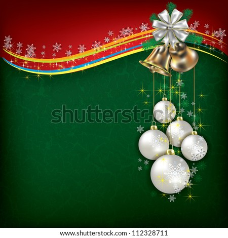 Christmas grunge background with white decorations and handbells