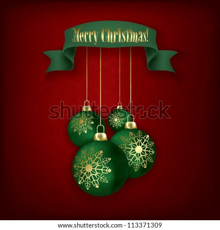 Christmas grunge greeting with green decorations and ribbon on red
