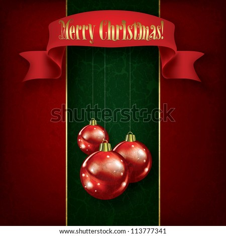 Christmas grunge greeting with red decorations and ribbon on green - stock vector
