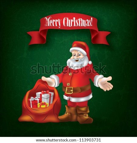 Christmas grunge greeting with Santa Claus and gifts on green - stock vector