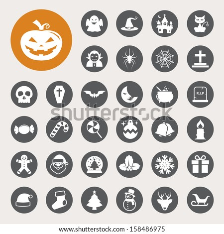 Christmas & Halloween icon set.Illustration EPS10 - stock vector