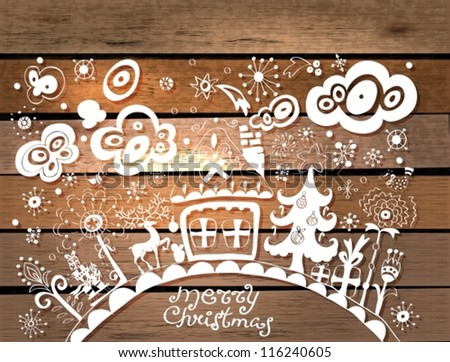 Christmas hand drawn background with place for text over wood texture, illustration in paper cut style, vector