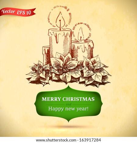 Christmas Hand Drawn Candle Xmas Design Stock Vector 163917284