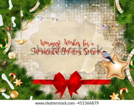 Christmas hand drawn design elements with calligraphy. EPS 10 vector file included - stock vector