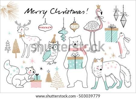Christmas hand drawn doodle cartoon set
