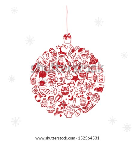 Christmas hand-drawn doodles  - stock vector