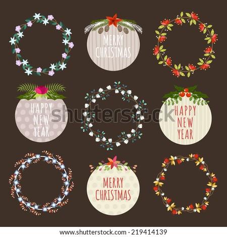 Christmas Hand Drawn Floral Decorations Vector Set. Design Elements, Ornaments, Ribbons, Laurel, Labels, Wreath and Holidays symbols. - stock vector