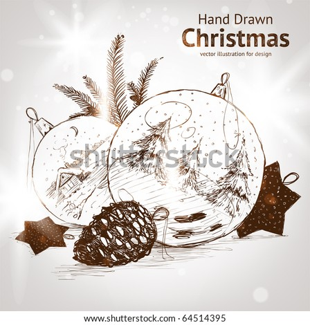 Christmas hand drawn fur tree for xmas design. With balls, toys and fir-cone - stock vector