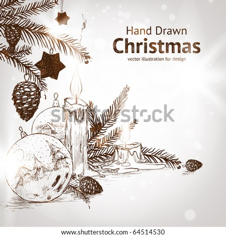 Christmas hand drawn fur tree for xmas design. With balls, toys and fir-cone and candle. - stock vector