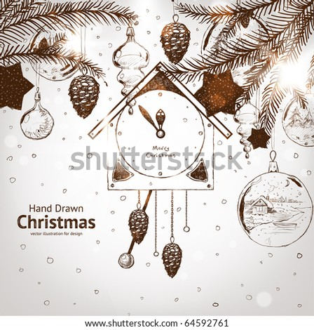 Christmas hand drawn fur tree for xmas design. With balls, toys, wall clock and fir-cone. - stock vector