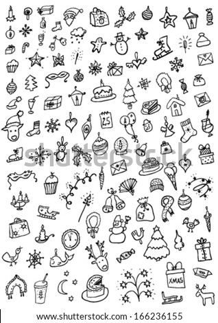 Christmas hand drawn set - stock vector