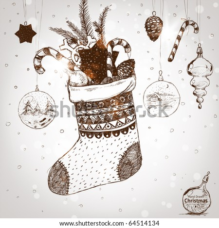 Christmas hand drawn sock for xmas design. With balls, fur tree branch, toys and fir-cone and sweet. - stock vector