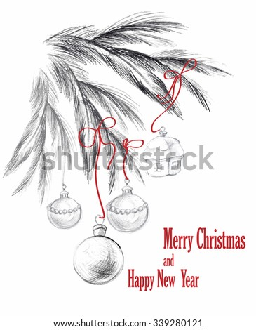 Christmas hand drawn vector illustration.Template for banners, poster, cards. Picture for digital design.  - stock vector
