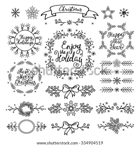 Christmas handdrawn design elements. Wreaths, branches, headers,lettering.  Best for greeting cards, invitations  - stock vector