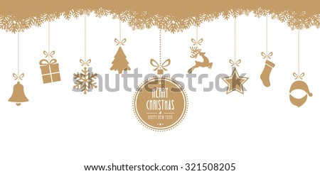 christmas hanging gold isolated background - stock vector