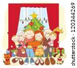 Christmas. Happy family together. Hand drawing illustration. - stock vector