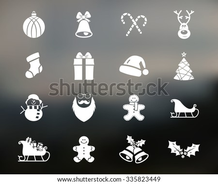 Christmas, Happy New Year and Winter icons collection. Set of holidays symbols, elements - santa, deer, gift, snowman, candy, toys for web, app, Vector silhouette isolated on blurred background - stock vector