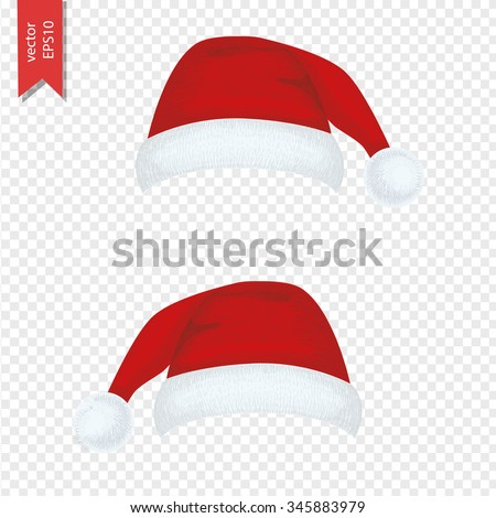 Christmas hat for your design. New Year hat set. Vector illustration isolated on transparent background.