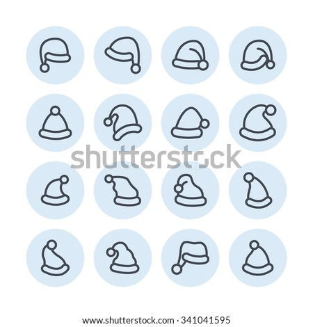 Christmas hat icons / Christmas hat vector / Christmas hat picture / Christmas hat image / Christmas hat JPG / Christmas hat EPS / Christmas hat AI / Christmas hat graphic / Christmas hat illustration - stock vector