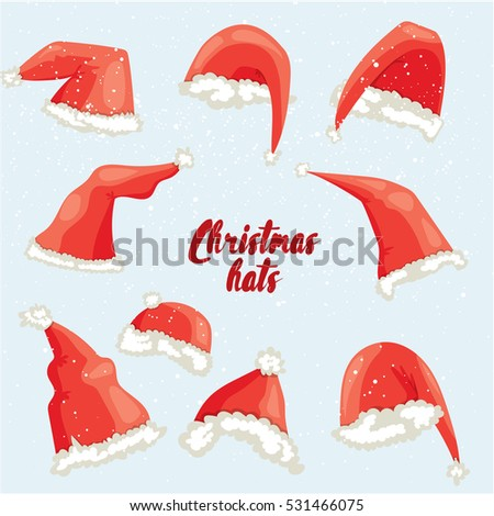 Christmas hat set. Flat vector illustration. Santa hat isolated
