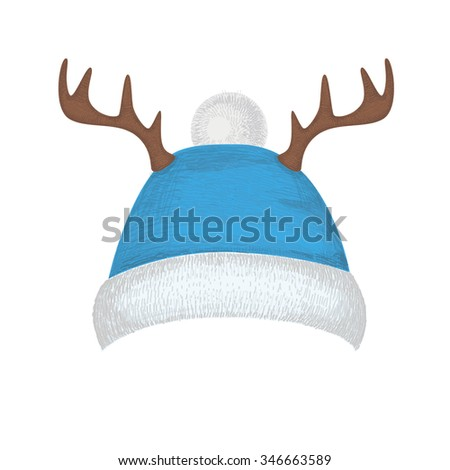 Christmas hat with deer horns for your design. New Year hat. Vector illustration of winter hat isolated on white background. Blue hat. - stock vector