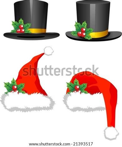 christmas hats - stock vector