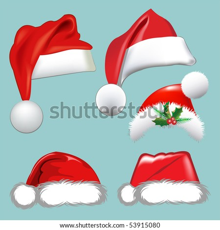 Christmas hats. Vector set. Collection for your design. - stock vector