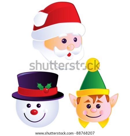 Christmas Heads - stock vector