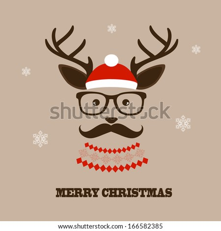 Christmas hipster deer  - stock vector