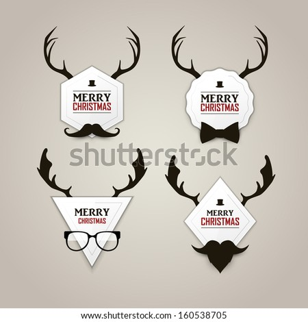 Christmas hipster labels set - stock vector