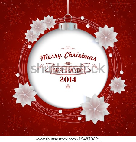 Christmas holiday abstract background with ornament ball. Vector illustration - stock vector