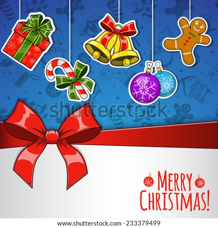 Christmas holiday background. Bright stickers with presents and decorations. Greeting card template. Eps 10 vector illustration.
