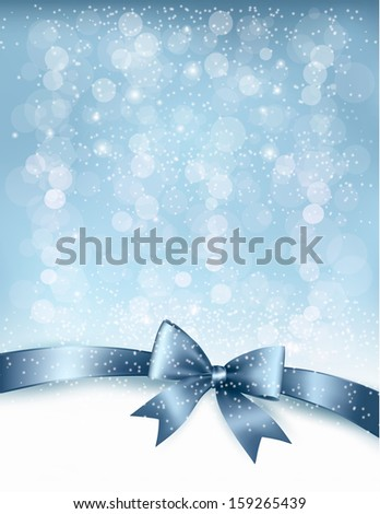 Christmas Holiday background with gift glossy bow and ribbon. Vector - stock vector
