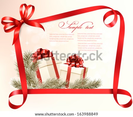 Christmas holiday background with gift ribbon with gift box Vector  - stock vector