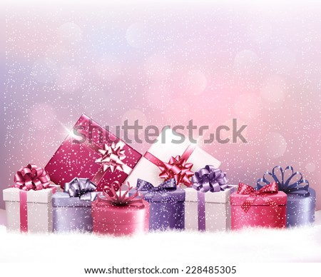 Christmas holiday background with presents. Vector.  - stock vector