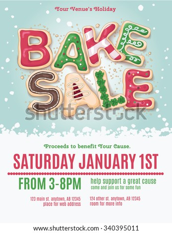 Christmas holiday bake sale flyer template with hand drawn cookie letters - stock vector