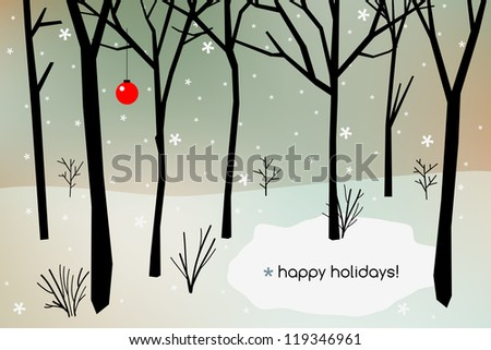 Christmas holiday card, winter season background with snowflakes.