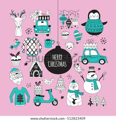Christmas holiday cute hand drawing elements and stickers for graphic and web design