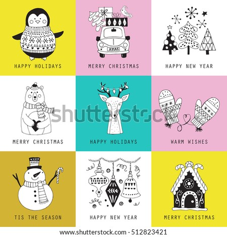 Christmas holiday cute hand drawing greeting card set