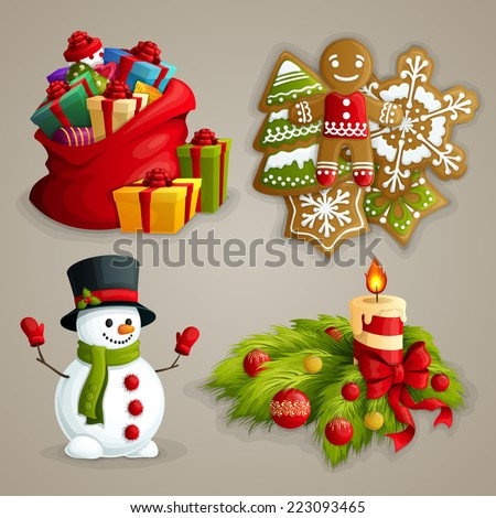 Christmas holiday decoration decorative icons set with gifts cookies snowman candle isolated vector illustration - stock vector