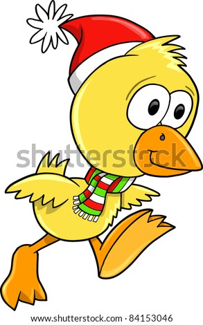 Christmas Holiday Duck Chicken Vector Illustration Art
