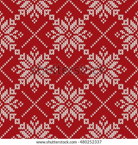 Christmas Holiday Knitting Seamless Pattern Snowflakes Stock Vector