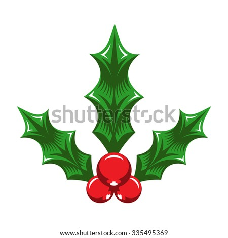 Christmas Holiday Mistletoe with Red Berries and Green Leaves - stock vector
