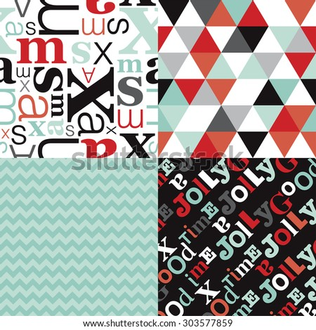 Christmas holiday pattern set with typography text pattern chevron and geometric triangles in mint and coral background collection in vector - stock vector
