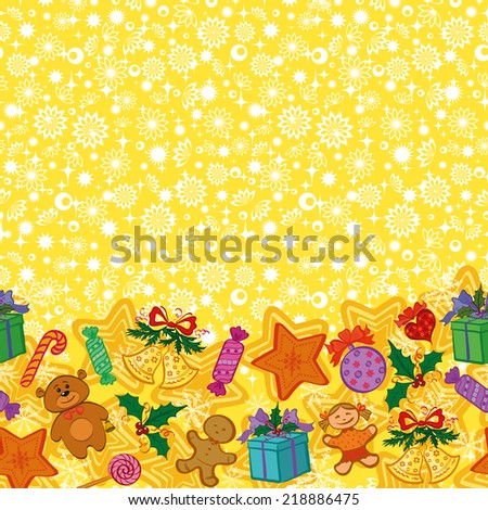 Christmas holiday seamless horizontal pattern with cartoon characters and elements. Vector - stock vector