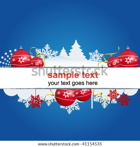 christmas holiday sign on the blue background - stock vector
