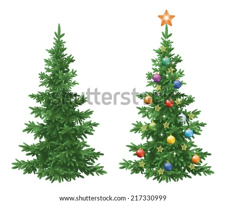 Christmas holiday spruce fir trees, natural and with ornaments, colorful balls and golden stars isolated on white background. Eps10, contains transparencies. Vector - stock vector