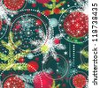Christmas holidays pattern with tree and snow. - stock photo