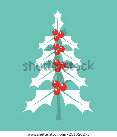 Christmas holly berry tree. Vector illustration - stock vector