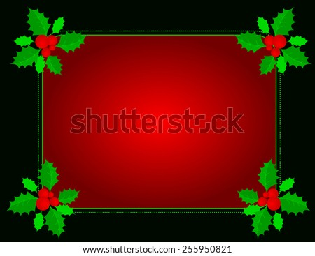 Christmas holly border/ background with holly leaves , berries and green ribbons - stock vector